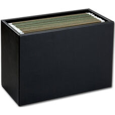 Classic Leather Hanging File Folder Box - Black