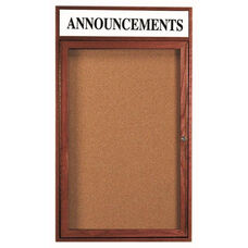 1 Door Enclosed Bulletin Board with Header and Cherry Finish - 36