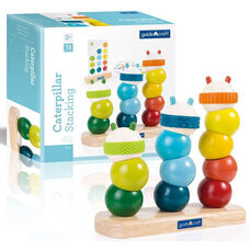 Caterpillar Stacking Sensory Exploration Kit with Pegged Base and Rounded Tactile Shapes