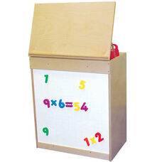 Natural Big Book Display and Storage with Locking Piano Hinged Top with Magnetic Marker Board on Front - Assembled - 24