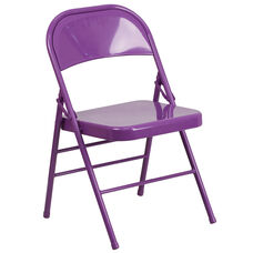 HERCULES COLORBURST Series Impulsive Purple Triple Braced & Double Hinged Metal Folding Chair