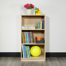 "Wooden 3 Section School Classroom Storage Cabinet for Commercial or Home Use - Safe, Kid Friendly Design - 36""H (Natural)"