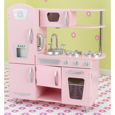 Kids Wooden Make-Believe Vintage Kitchen Play Set - Pink