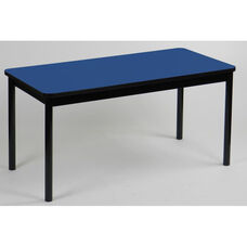 High Pressure Laminate Rectangular Library Table with Black Base and T-Mold - Blue Top - 24