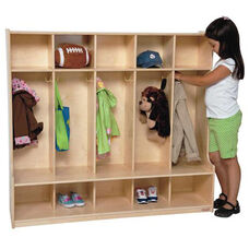 Natural 5-Section Seat Locker with Two Coat Hooks in Each Section - Assembled - 54