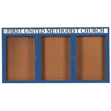 3 Door Indoor Illuminated Enclosed Bulletin Board with Header and Blue Powder Coated Aluminum Frame - 48