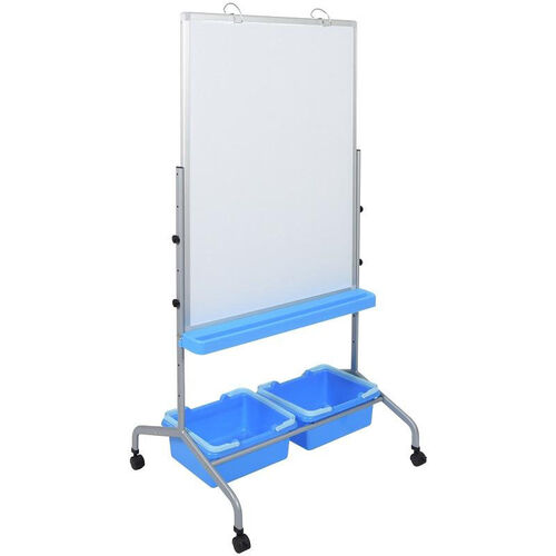 Our Rolling Whiteboard Learning Center with Two Blue Storage Bins - White - 31