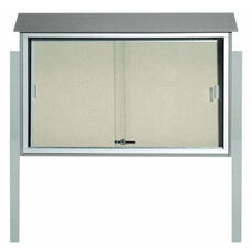 Light Gray Sliding Door Plastic Lumber Message Center with Vinyl Surface and Post