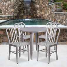 "Commercial Grade 30"" Round Silver Metal Indoor-Outdoor Table Set with 4 Vertical Slat Back Chairs"
