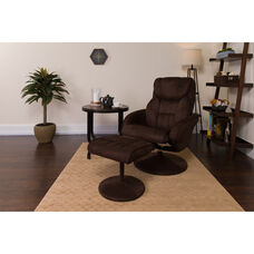 Contemporary Multi-Position Recliner and Ottoman with Circular Wrapped Base in Brown Microfiber
