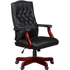 Ivy League Height Adjustable Tufted Back Traditional Swivel Chair - Black Vinyl