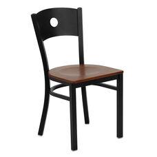 Black Circle Back Metal Restaurant Chair with Cherry Wood Seat
