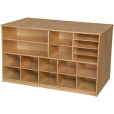 Wooden Versatile Storage Unit with 10 Purple Plastic Trays - 48