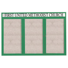 3 Door Outdoor Illuminated Enclosed Bulletin Board with Header and Green Powder Coated Aluminum Frame - 48