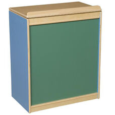 Blueberry Big Book Display and Storage with Locking Piano Hinged Top with Chalkboard on Front - Assembled - 24