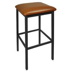 Trent Backless Black Barstool - Light Brown Vinyl Seat