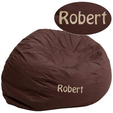 Personalized Oversized Solid Brown Bean Bag Chair for Kids and Adults