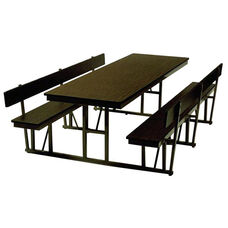 Customizable Standard Lunchroom Table with Back Support and Built in Benches - 30