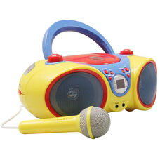 Multi-Colored Kid-Friendly Audio CD Player Karaoke Machine with Microphone and Foldable Carrying Handle - 8.5