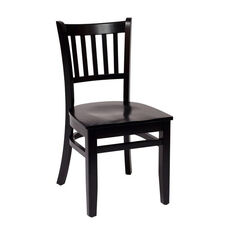 Delran Black Wood Slat Back Chair - Wood Seat