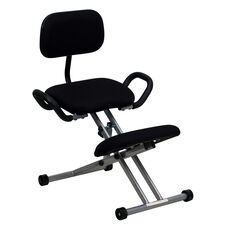 Ergonomic Kneeling Office Chair with Back and Handles in Black Fabric