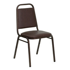 HERCULES Series Trapezoidal Back Stacking Banquet Chair in Brown Vinyl - Copper Vein Frame