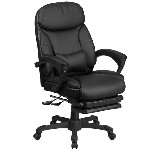 High Back Black LeatherSoft Executive Reclining Ergonomic Swivel Office Chair with Comfort Coil Seat Springs and Arms
