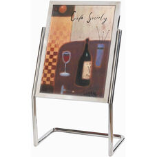 Chrome Double Pedestal Sign and Poster Stand