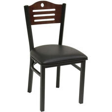 Armless Half Wood Back Dining Chair with Slotted Accents - Grade 4 Vinyl