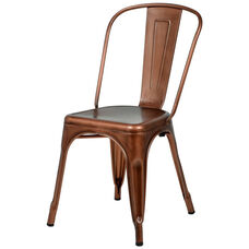 Oscar Steel Powder Coated Stackable Armless Chair - Brushed Rose Gold