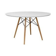 Paris Indoor Tower Round Table with Wooden Legs - Natural and White