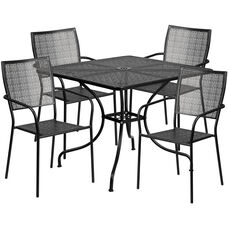 """Commercial Grade 35.5"""" Square Black Indoor-Outdoor Steel Patio Table Set with 4 Square Back Chairs"""