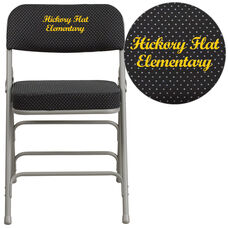 Embroidered HERCULES Series Premium Curved Triple Braced & Double Hinged Black Pin-Dot Fabric Metal Folding Chair