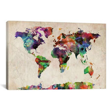 World Map Urba Watercolor II by Michael Tompsett Gallery Wrapped Canvas Artwork