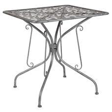 "Agostina Series 27.5"" Square Antique Silver Indoor-Outdoor Steel Patio Table"