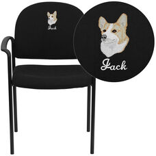 Embroidered Comfort Black Fabric Stackable Steel Side Reception Chair with Arms