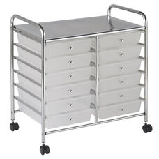 12 Drawer Mobile Organizer with Chrome-Plated Top Shelf and White Pullout Drawers