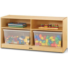 Jumbo Toddler Mobile Wooden 2 Shelf Storage Unit with 2 Clear Plastic Totes and Lids - 48