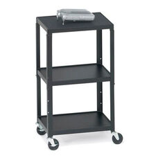 Three-Shelf Adjustable AV Cart with 6 Electrical Outlets - 24