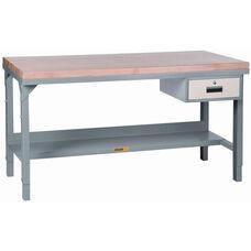 Adjustable Height Steel Workbench With Butcher Block Top - 30