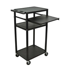 Molded Thermoplastic Resin Presentation Cart with Front Slide-Out Shelf - Black - 24