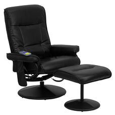 Massaging Multi-Position Recliner with Side Pocket and Ottoman in Black LeatherSoft