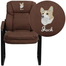 Embroidered Brown Microfiber Executive Side Reception Chair with Sled Base