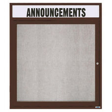 1 Door Outdoor Enclosed Bulletin Board with Header and Bronze Anodized Aluminum Frame - 36