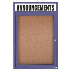 1 Door Indoor Illuminated Enclosed Bulletin Board with Header and Blue Powder Coated Aluminum Frame - 36