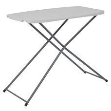 2.5-Foot Height Adjustable Granite White Plastic Folding Table