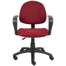 Deluxe Thick Padded Posture Chair with Lumbar Support and Loop Arms - Burgundy