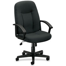 Basyx Mid-Back Managerial Chair with Fixed Loop Arms - Charcoal Fabric