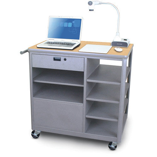 Our Vizion Presenter Mobile Teacher Workstation with Acrylic Door and Four Side Shelves - Kensington Maple Laminate is on sale now.