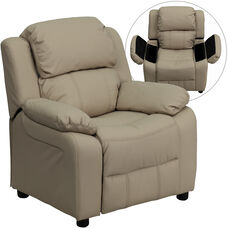 Deluxe Padded Contemporary Beige Vinyl Kids Recliner with Storage Arms